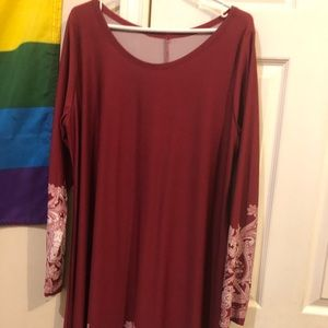 Dresses & Skirts - Maroon dress with detailing on sleeves/bottom